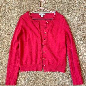 Dark Pink Banana Republic Merino Wool Cardigan